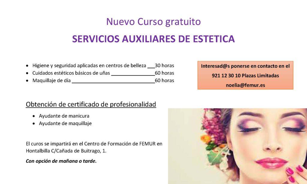 Curso Gratuito SERVICIOS AUXILIARES DE ESTETICA